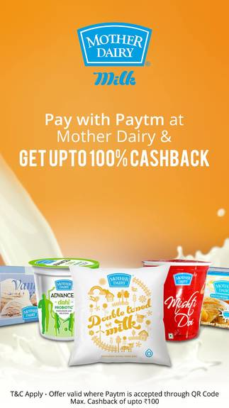 Cashback at Mother Dairy - Pay via Paytm