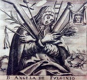 Retrato de Santa Angela de Foligno en grises