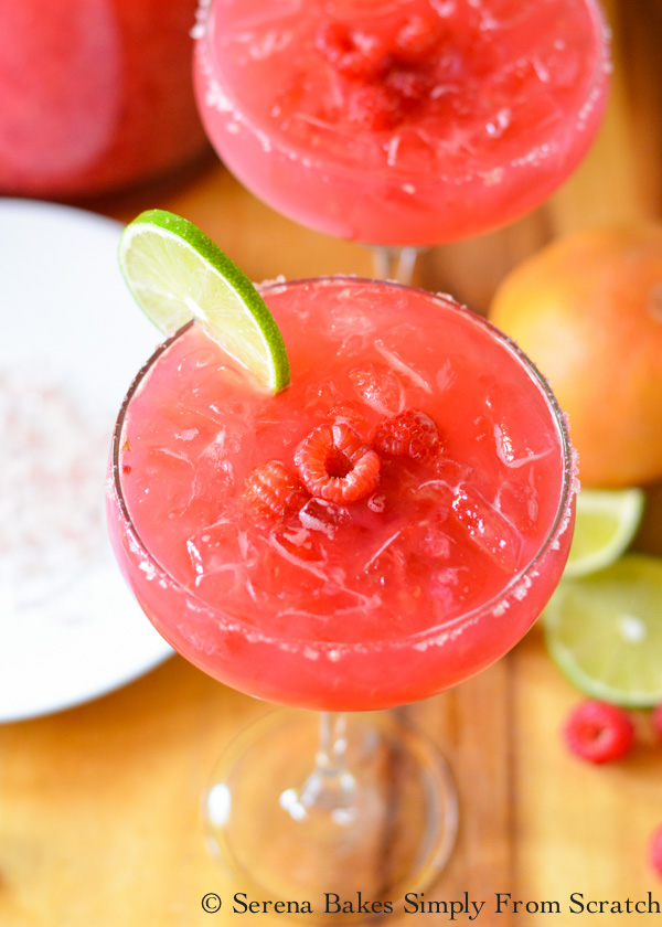 Raspberry Margaritas are a favorite pitcher cocktail recipe perfect for parties from Serena Bakes Simply From Scratch.
