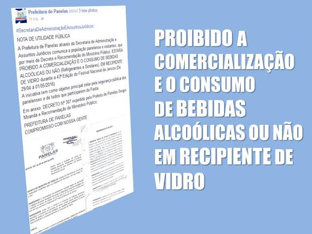 PROIBIDO A COMERCIALIZAÇÃO DE BEBIDAS ALCOÓLICAS OU NÃO (Refrigerantes e Similares), EM RECIPIENTE DE VIDRO