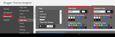 Coding blog top pages menu colors