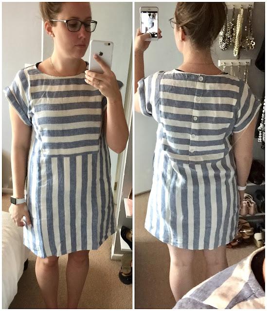 Calson Stripe Linen Shift Dress
