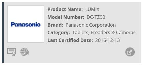 Информация о камере Panasonic Lumix TZ90