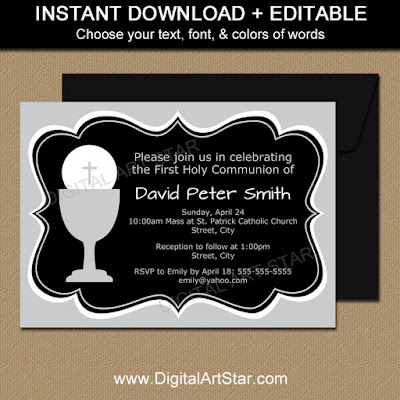 black & silver 1st communion invitation template for boys or girls