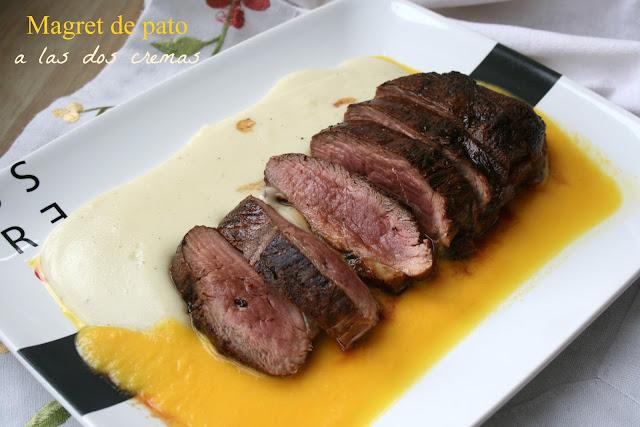 Magret de pato con dos cremas,magret de pato,crema de patata.crema de naranja