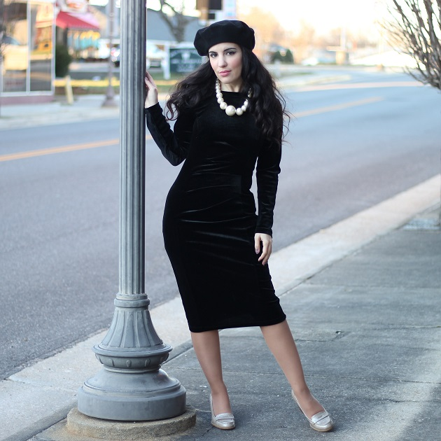 Belle Poque Black Velvet Dress