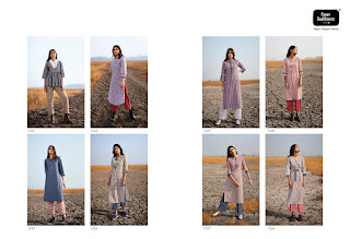Four button Silver Kurti with pant Catalog wholesaler