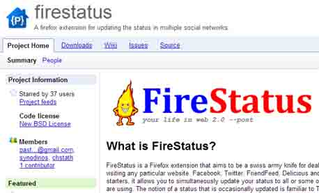 Facebook firestatus firefox add on