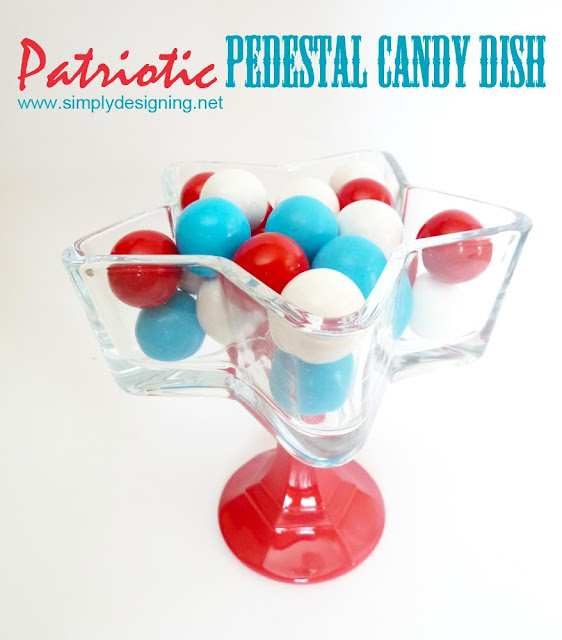 Patriotic Pedestal Candy Dish - perfect candy dish for the 4th of July and so simple to make!!  #4thofjuly #memorialday #star #starsandstripes #redwhiteandblue #patriotic