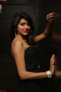 Shalu Chourasiya in spicy Sleeveless Strapless Black Top at O Pilla Nee Valla Movie Audio Launch Feb 2017 029.JPG