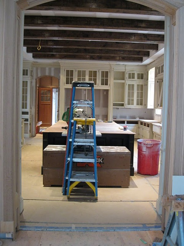 Under construction French chateau kitchen before shot by Enchanted Home