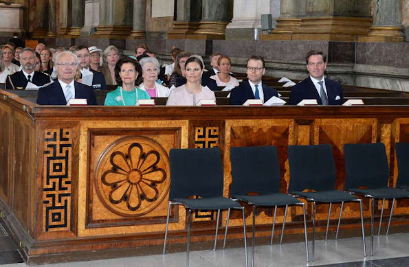 "King Carl Gustaf, Queen Silvia, Crown Princess Victoria, Prince Daniel and Christopher O'Neill attended the ""Te Deum"" church service"