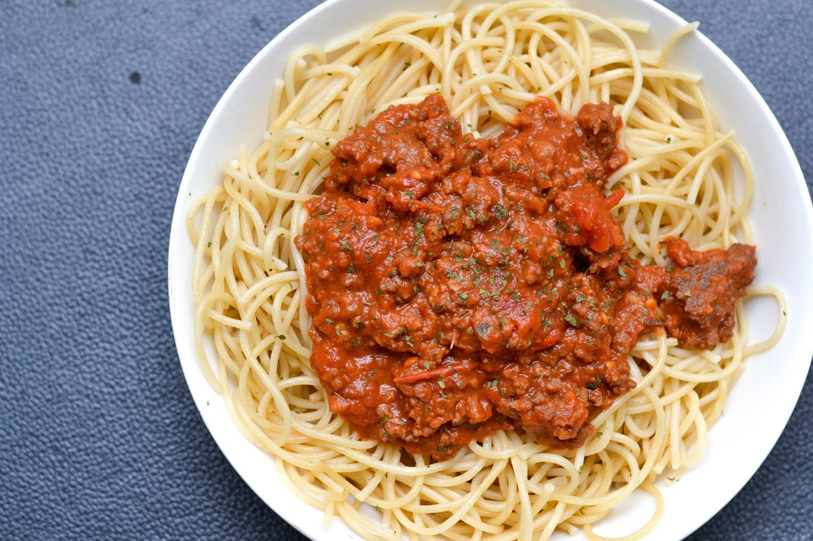 Spaghetti Bolognese with Parsley and Oregano
