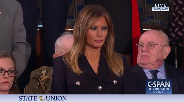 State of the Union 2019 Melania Trump orange face Juda Holocaust survivor