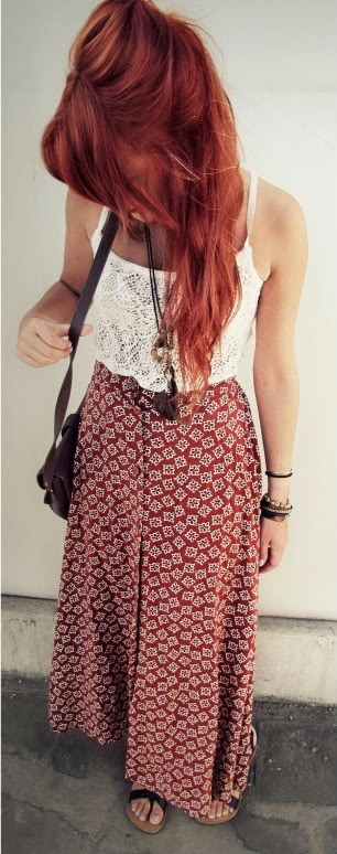 Women's Fashion Vintage maxi skirt, lace tank, feather necklace. Boho summer.