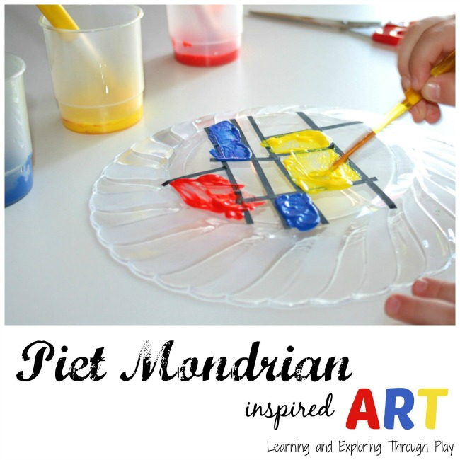 Piet Mondrian preschool art. Exploring famous artists for kids