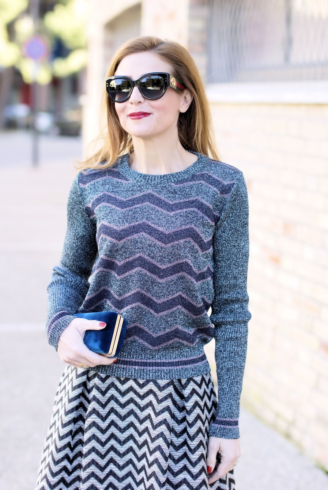 Winter holidays look: double chevron print and Gucci sunglasses on Fashion and Cookies fashion blog, fashion blogger style