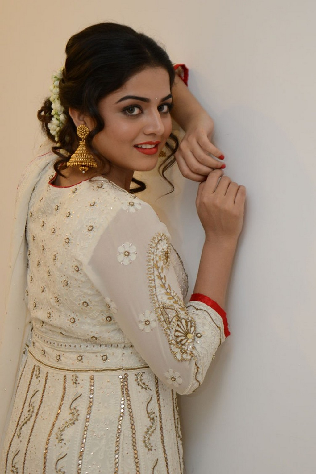 Glamours Actress Wamiqa Gabbi Hot Stills In White Dress