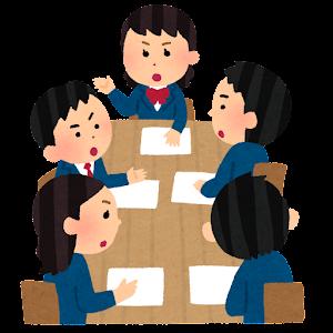 学生の会議のイラスト(ブレザー・真剣・男女)