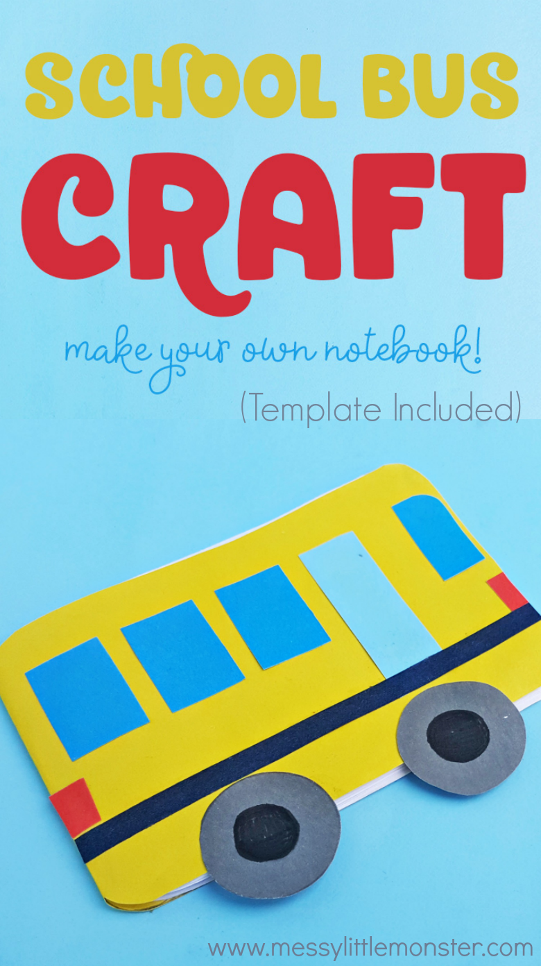 Easy school bus craft for kids. Make a diy notebook as a fun back to school craft idea or as part of a transportation activity or transportation theme. Also a fun 'Wheels on the Bus' nursery rhyme activity for toddlers and preschoolers.