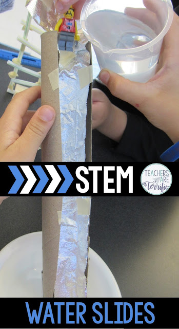 STEM challenge: students will be using materials to plan a design and then build a working water slide that will take a toy figure down the slide- without leaking water. Students will have to select materials to line their slide so it won't spill water. The slide must resemble a slide, have a turn, and have a ladder. Students will use the steps of the Engineering Design Process as you follow the pages of detailed and labeled teacher directions pages. Your students will love this challenge!