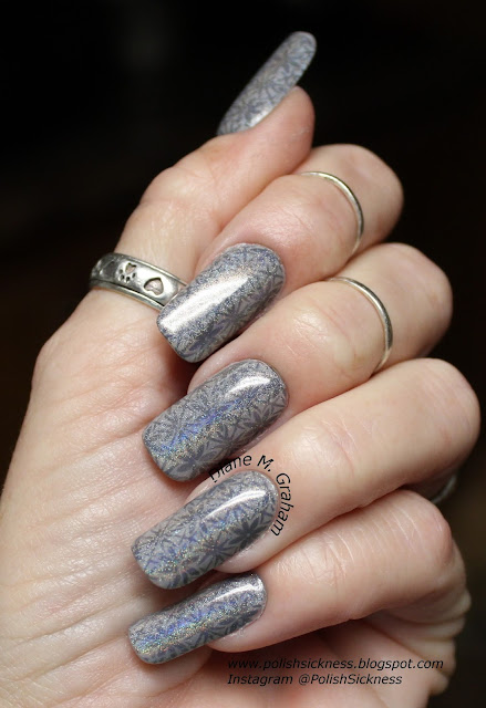 Square Hue Vice, Mundo de Unas Dark Gray,  Pixie's Polish Spectraflair Topcoat, Fab Ur Nails FUN13