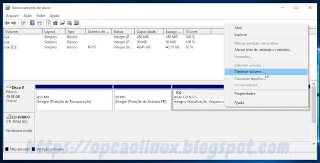 Selecione a partição Windows e clique em Diminuir Volume