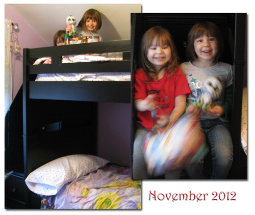 Grand children playing on their new bed