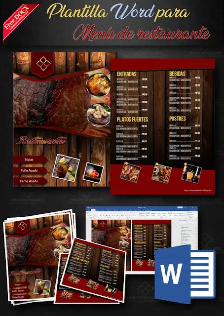 Plantilla de menú para restaurante de 2 paginas editable en Word