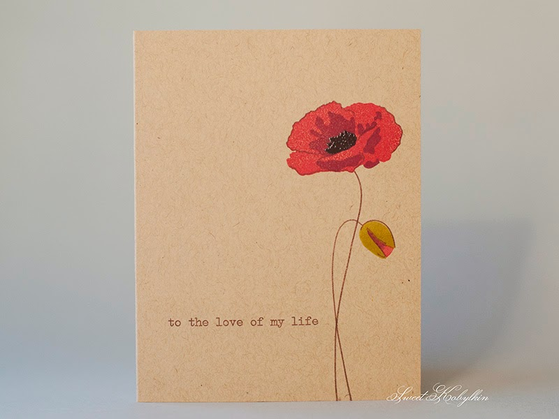 Greeting Card with Painted Poppy Altenew. Sweet Kobylkin