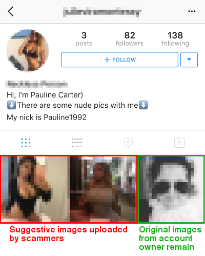 Instagram accounts hacked altered to promote adult dating spam original images from account owner remain on hacked profiles ccuart Gallery