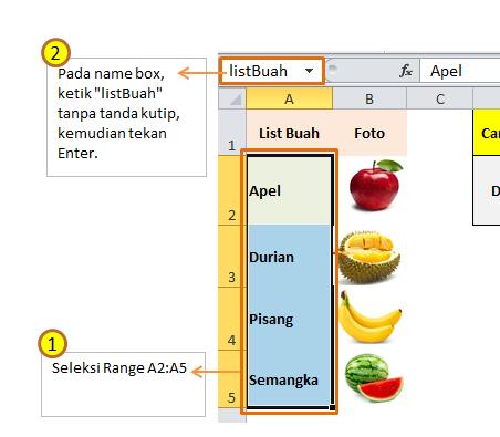 Cara Memberi Nama Range Excel Dengan Name Box