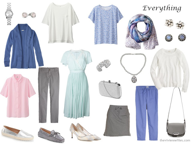 Travel capsule wardrobe in pastels colors