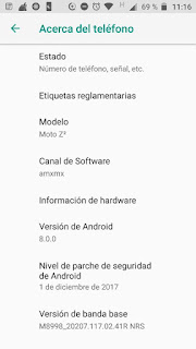 Moto Z2 con Android 8 Oreo