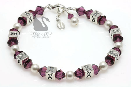 Crystal Cystic Fibrosis Awareness Ribbon Bracelet (BA033-CF)