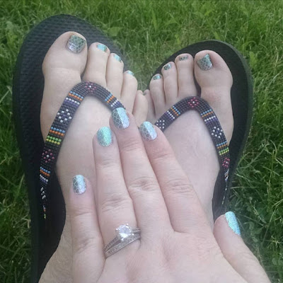 Mermaid Tales nail wraps and Life's A Beach gel manicure and pedicure - What Is Jamberry? - The Vegan Nail Art Revolution