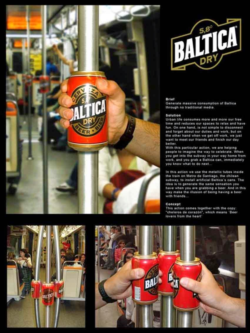 Three images in one, of hands grasping replica beer cans positioned on the hand rail poles.