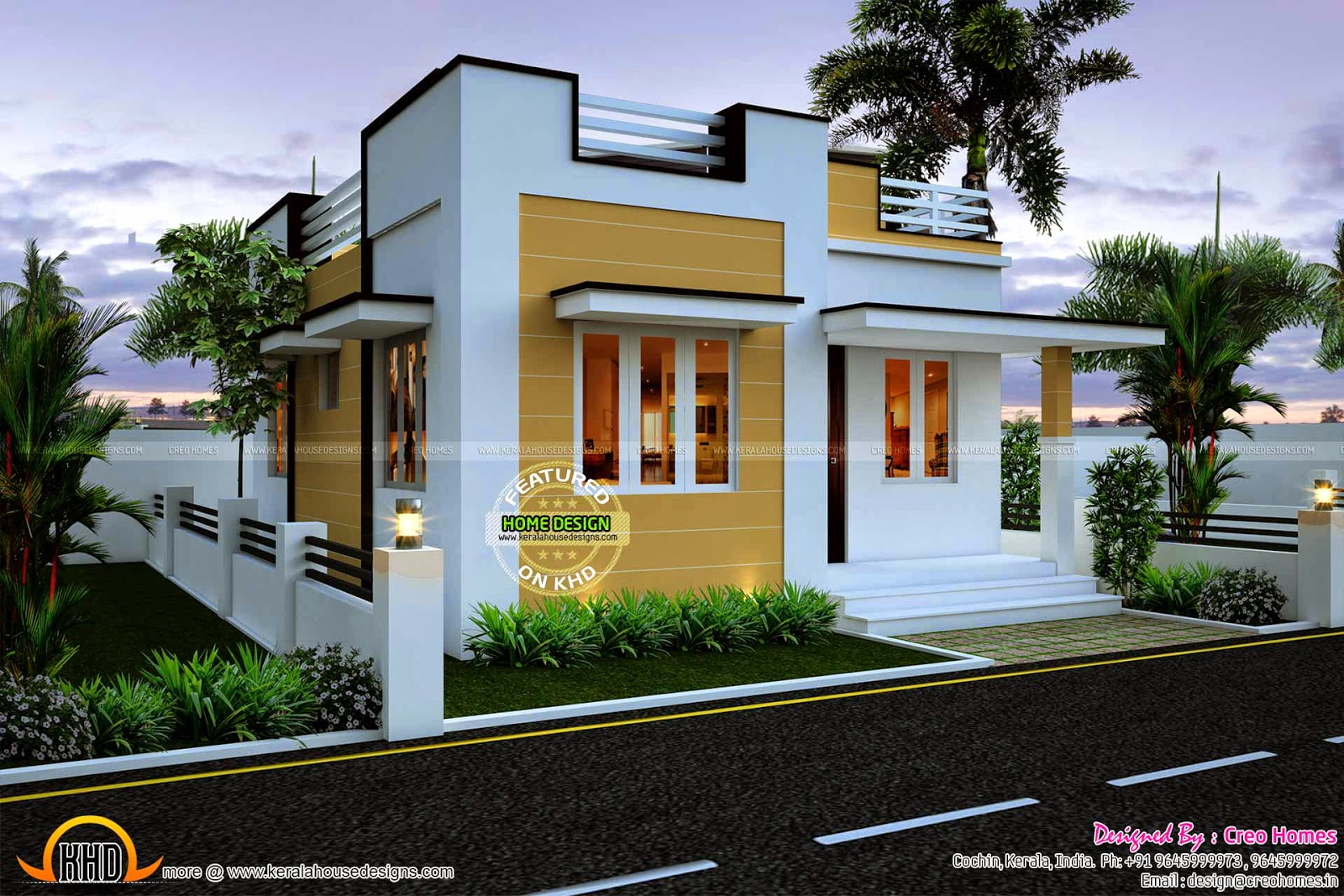 545 sq ft beautiful kerala home plan with budget of 5 to 7 for House plans in kerala with 2 bedrooms
