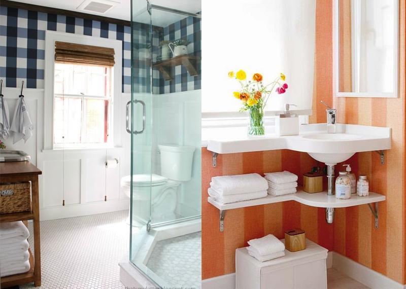 Decoração de Banheiro Sem Azulejo Idéias de Acabamentos Alternativos e Diver -> Decoracao De Banheiro Com Papel Contact