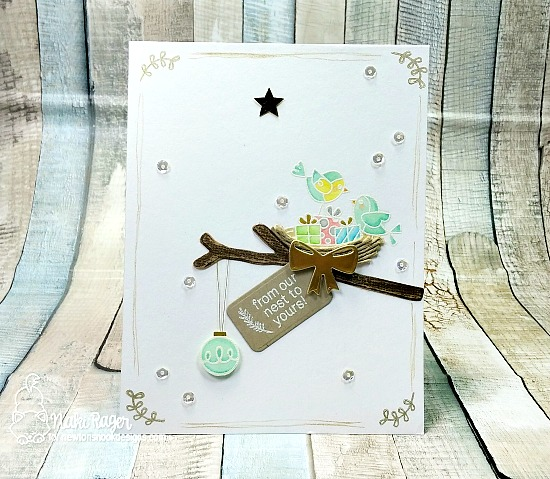 Bird Christmas Card by Naki Rager | Holiday Tweets Stamp Set by Newton's Nook Designs #newtonsnook