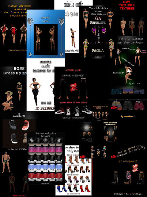 seventeen packs textures imvu shoes clothes and nails Christmas offer only 40eur