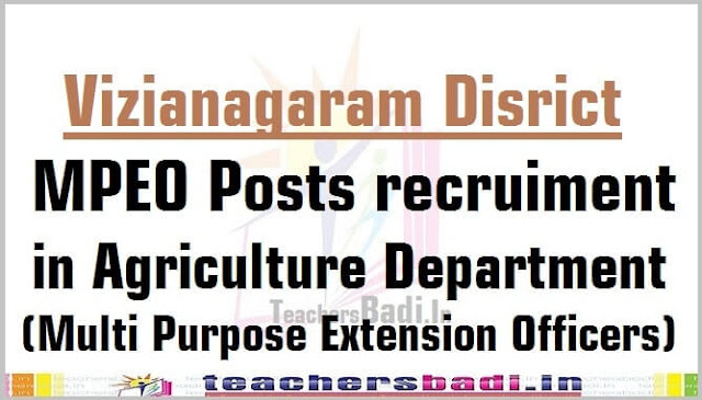 Vizianagaram,MPEO Posts,Agriculture Department