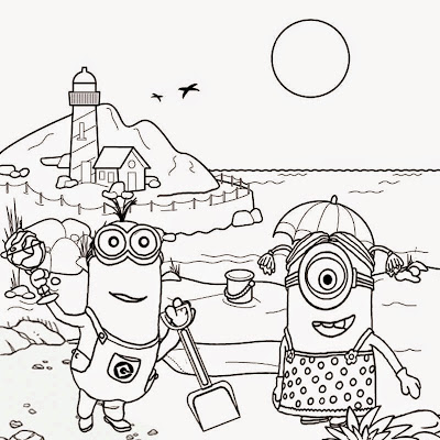 Free clipart drawing for teens seaside holiday fun coloring pictures of Minions beach tropical sands