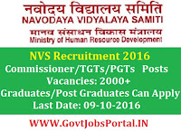 Navodaya Vidyalaya Samiti Recruitment 2016 For 2000+ TGT/PGT/Assistant Commissioner Posts. Apply Online Here