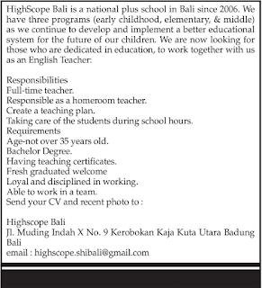 Open Recruitment at Highscope Bali Mei 2018