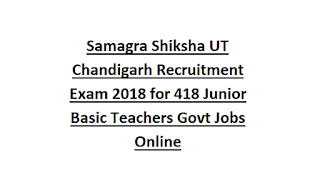 Samagra Shiksha UT Chandigarh Recruitment Exam 2018 for 418 Junior Basic Teachers Govt Jobs Online