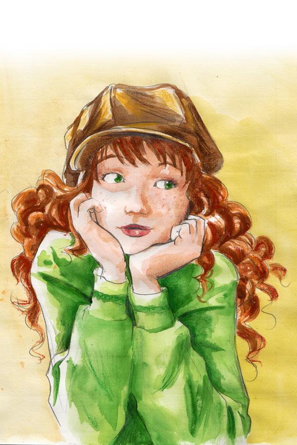 une jeune rousse aux yeux verts - techniques mixtes