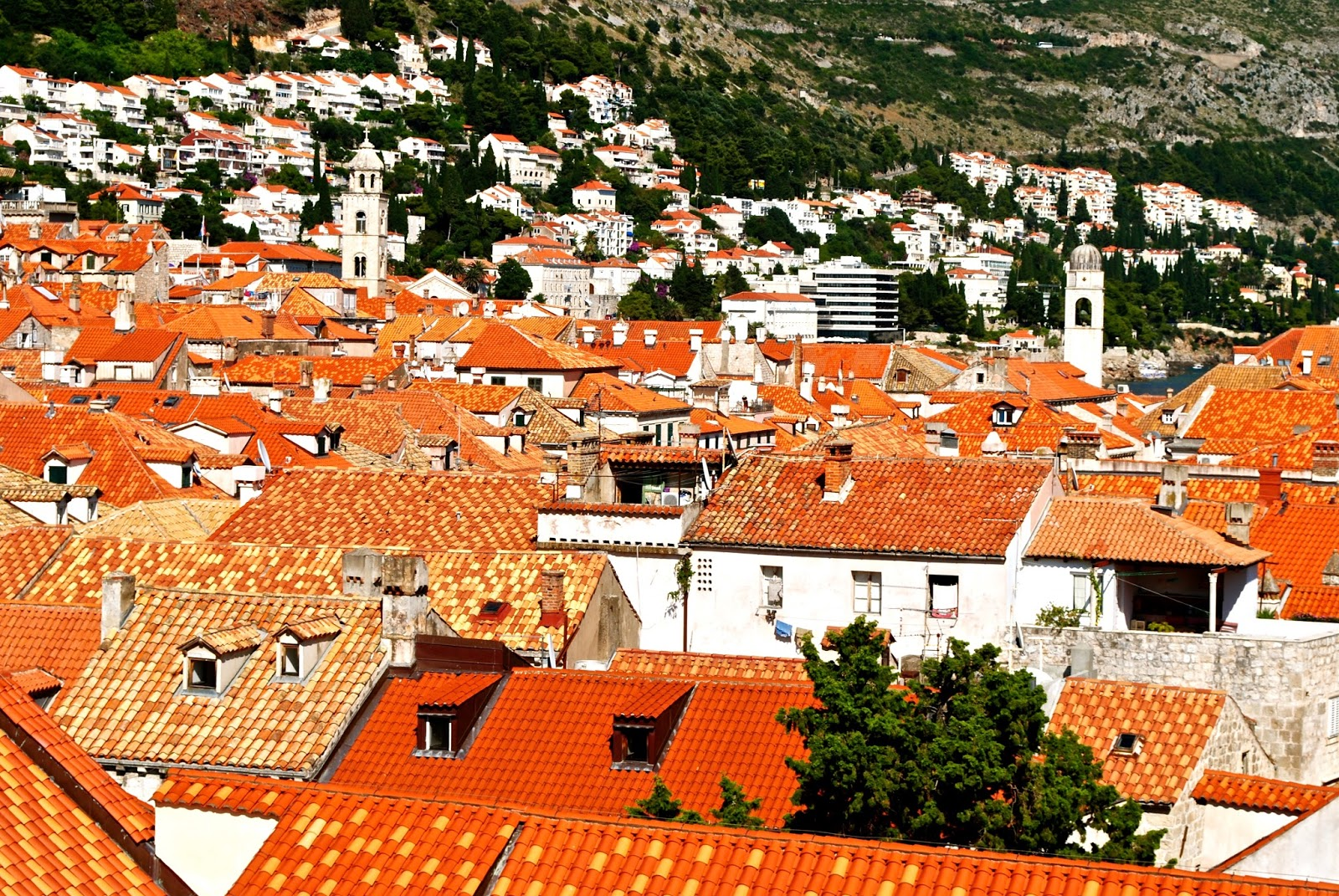 View of Croatian orange rooftops the Old Town Walls of Dubrovnik