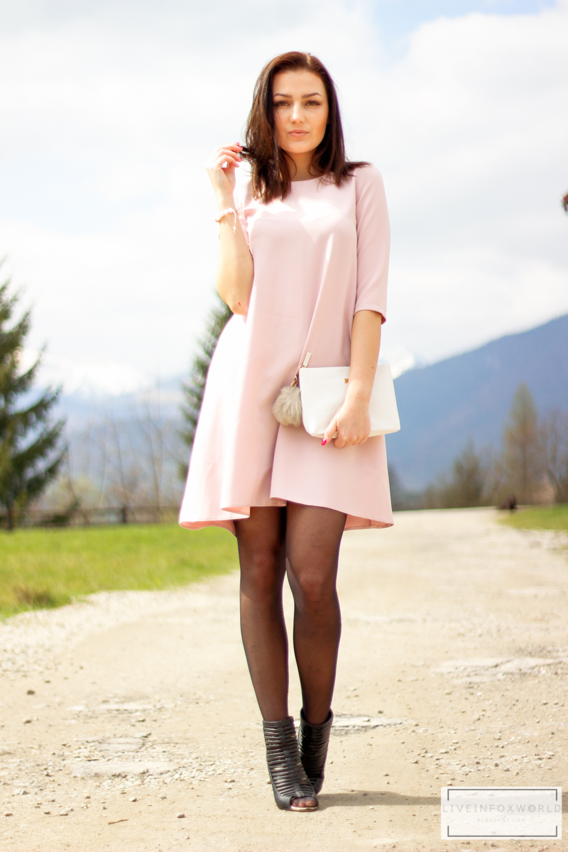 powder pink dress