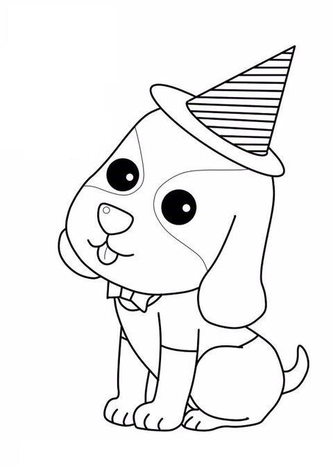 Tranh tô màu con chó đơn giản
